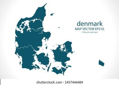 denmark map High Detailed on white background. Abstract design vector illustration eps 10