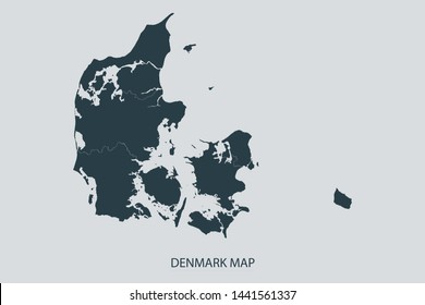 Denmark map on gray background vector, Denmark Map Outline Shape Gray on White Vector Illustration, Map with name. Symbol for your web site design map logo. app, ui, eps10.
