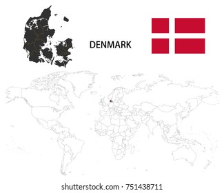 Denmark map on a world map with flag on white background.