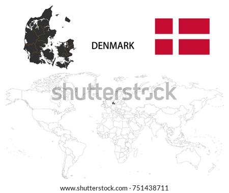 Denmark On Map Of World.Denmark Map On World Map Flag Stock Vector Royalty Free 751438711