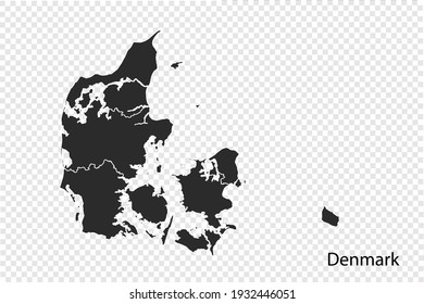 Denmark map vector, black color. isolated on transparent background