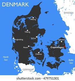 Denmark map | Vector detailed color Denmark map