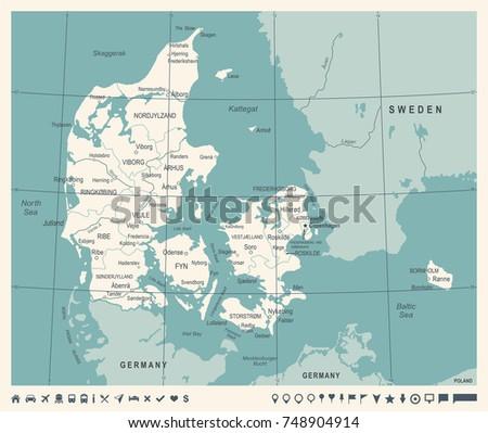Denmark Map Vintage Detailed Vector Illustration Stock Vector ...