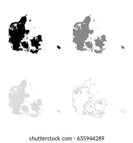 Denmark maps in black, gray and line art. High detailed vector map, easy to edit.