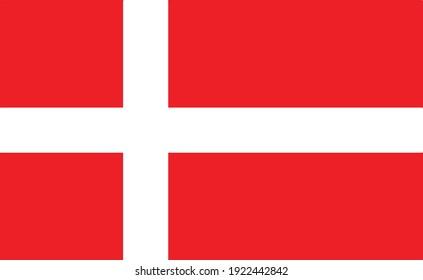 Denmark national flag , Vector Official state symbol