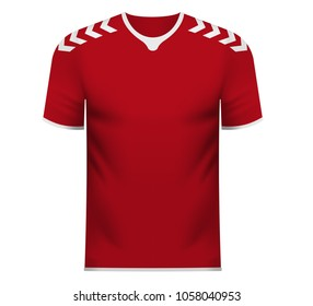 Denmark national soccer team shirt in generic country colors for fan apparel.