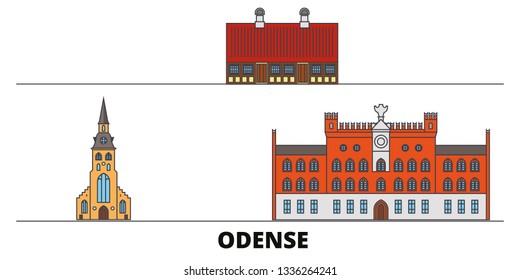 Denmark, Odense flat landmarks vector illustration. Denmark, Odense line city with famous travel sights, skyline, design.