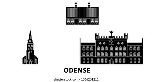 Denmark, Odense flat travel skyline set. Denmark, Odense black city vector illustration, symbol, travel sights, landmarks.