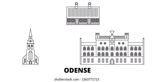 Denmark, Odense line travel skyline set. Denmark, Odense outline city vector illustration, symbol, travel sights, landmarks.