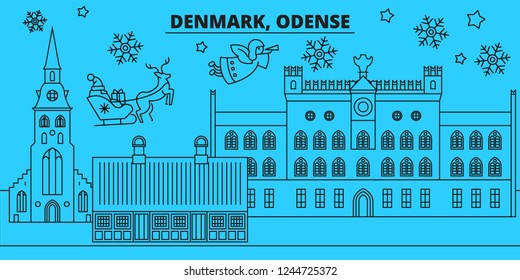 Denmark, Odense winter holidays skyline. Merry Christmas, Happy New Year decorated banner with Santa Claus.Denmark, Odense linear christmas city vector flat illustration