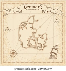Denmark old treasure map. Sepia engraved template of Denmark treasure map. Stylized Denmark treasure map on vintage torn paper.