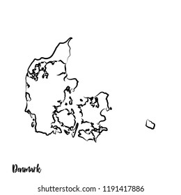 Denmark outline contour black map