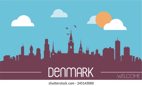 Denmark skyline silhouette flat design vector illustration.