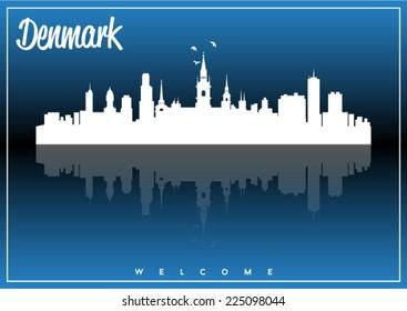 Denmark, skyline silhouette vector design on parliament blue and black background.