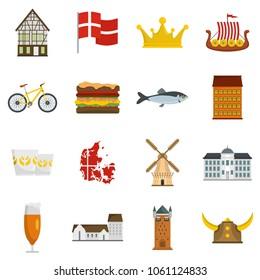 Denmark travel icons set. Flat illustration of 16 Denmark travel vector icons isolated on white background