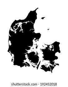 Denmark vector map isolated on white background. High detailed silhouette illustration.