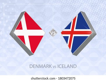 Denmark vs Iceland, League A, Group 2. European Football Competition on blue soccer background.