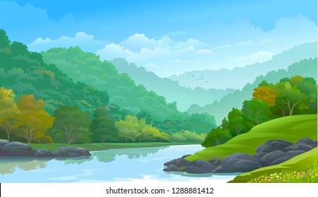 Dense green forest along side a river and a few rocks