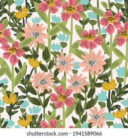 A dense meadow of wildflowers in pink, blue, yellow, and green on white. Beautiful millefleur spring-summer seamless vector pattern. Great for home decor, fabric, wallpaper, gift-wrap, stationery, etc