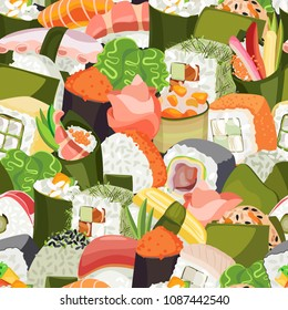 Dense vector seamless pattern from a variety of sushi