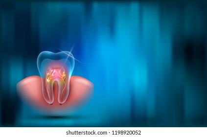 Dental background, transparent tooth cross section, roots and gum on a beautiful blue abstract background