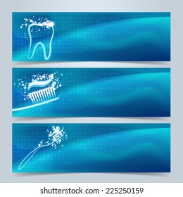 Dental banners or website header set. Tooth, toothbrush and toothpaste with star glow effect on blue and green background