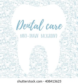 Dental care background, banner with tooth for text