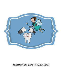 dental care cartoon over label frame