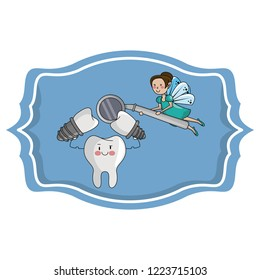 dental care cartoon over label frame