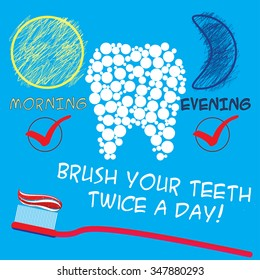 Dental care concept. Healthy teeth, the daily dental care.Vector illustration