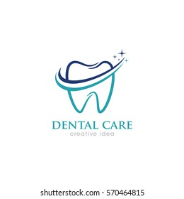 Dental Care Creative Concept Logo Design Template