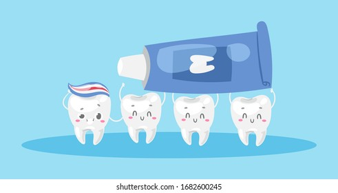 Dental care with cute healthy white teeth and toothpaste cartoon vector illustration for children dentist cabinet. Dental care poster for kids, funny dentistry.