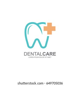 Dental Care or Dentist Logo Template Design . Vector Illustration