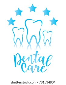 Dental care design concept. Tooth with five stars as a symbol of protection. Vector illustration.