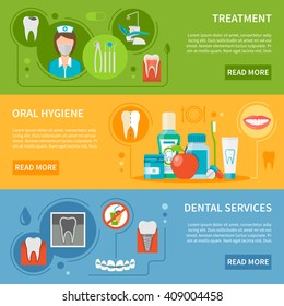 Dental Care Horizontal Banner Set Isolated Vector Illustration