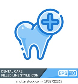 dental care icon in filled line style isolated on white background. vector illustration for website. EPS 10