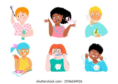 Dental care kids collection. Cute children brushing teeth, wearing braces and edentulous smiling. Oral health education clip art. Vector simple cartoons.