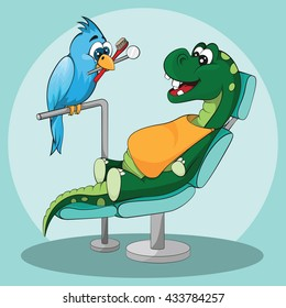 Dental care for kids. Happy dinosaur with dentist
