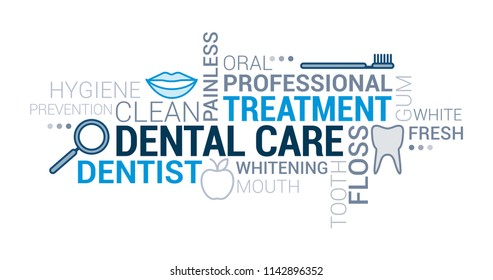 Dental care, orthodontics and hygiene tag cloud with icons and concepts