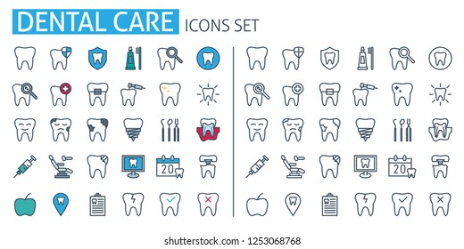 Dental care poster template. Thin line icons set. Dentistry services web symbols outline flat with Dentist Tools and Equipment. For treatment, prosthetics, products, Cosmetic, mobile app medicine