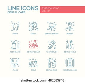 Dental care - set of modern vector plain line design icons and pictograms. Tooth, cavity, implant, toothpaste, dentist chair, toothbrush, tools, floss, smile, rinse, medical record