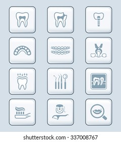 Dental care tools and procedures gray icon-set
