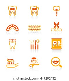 Dental care tools and procedures red-orange icon-set