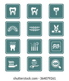 Dental care tools and procedures teal icon-set
