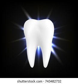 Dental care Tooth Icon vector concept. White tooth on black background. Whitening of human tooth.Vector illustration.