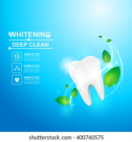Dental care Tooth and Mint Leaf Icon vector Concept.