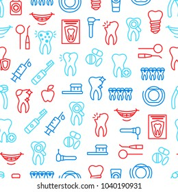 Dental Care Tooth Thin Line Seamless Pattern Background on a White for Web and App Include of Toothpaste, Toothbrush, Implant and Tool. Vector illustration of Healthcare Teeth