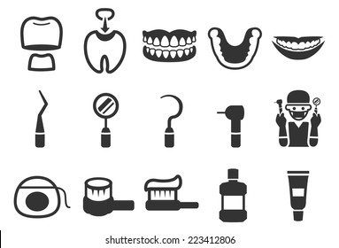 Dental care vector illustration icon set 2. Included the icons as teeth, protection, dentist, toothbrush, mouthwash, fluoride and more.
