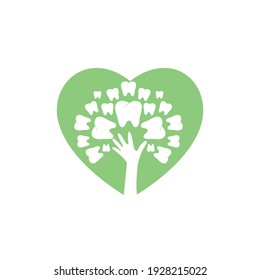 Dental care vector logo template. Teeth and hand tree with heart icon design.