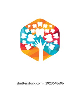 Dental care vector logo template. Teeth and hand tree icon design.